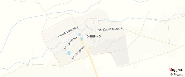 Карта села Гришино в Чувашии с улицами и номерами домов