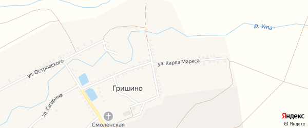 Улица Карла Маркса на карте села Гришино с номерами домов
