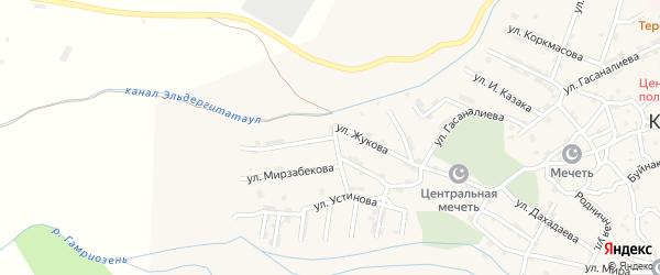 Улица Жукова на карте села Каякента с номерами домов