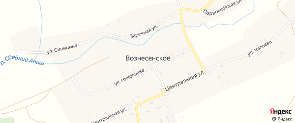 Центральная улица на карте Вознесенского села с номерами домов