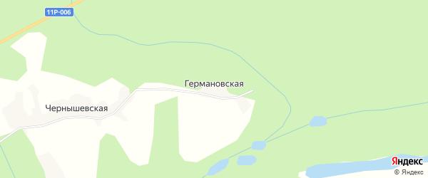 Карта Германовской деревни в Архангельской области с улицами и номерами домов
