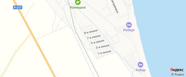 Дачное некоммерческое партнерство Каспий на карте Избербаша с номерами домов