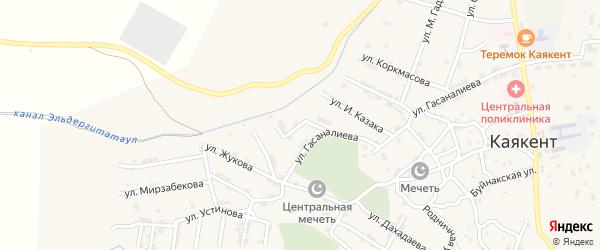 Дружная улица на карте села Каякента с номерами домов