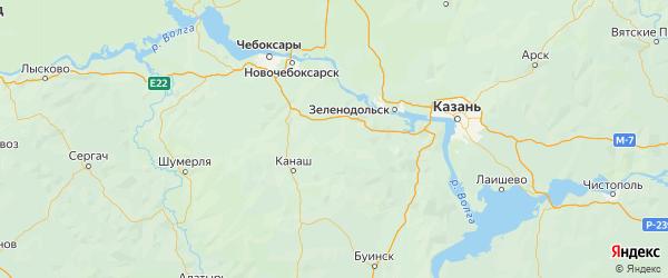 Карта Урмарского района республики Чувашия с городами и населенными пунктами