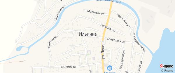 Горная улица на карте поселка Ильинки с номерами домов