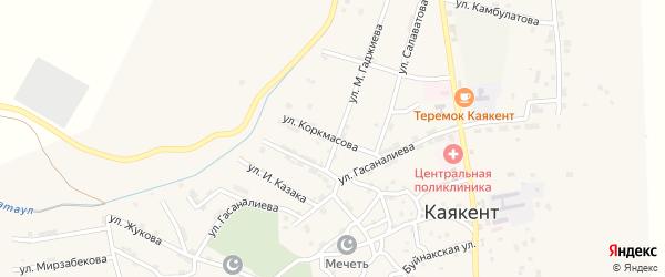 Улица Коркмасова на карте села Каякента с номерами домов