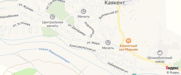 Родничная улица на карте села Каякента с номерами домов