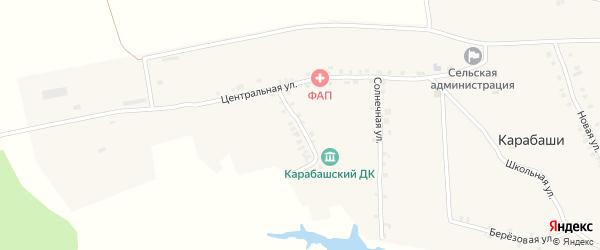 Зеленая улица на карте деревни Карабаши с номерами домов