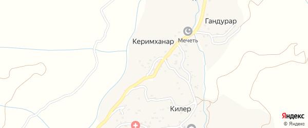 Центральная улица на карте села Керимханара с номерами домов