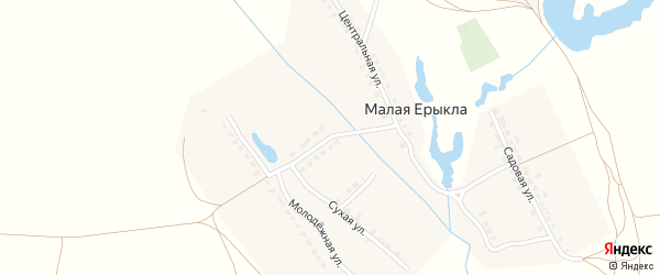 Молодежный переулок на карте деревни Малой Ерыклы с номерами домов