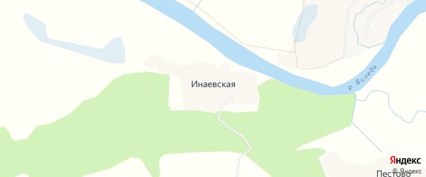 Карта Инаевской деревни в Архангельской области с улицами и номерами домов