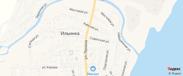 Советская улица на карте поселка Ильинки с номерами домов