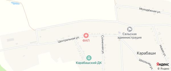 Центральная улица на карте деревни Карабаши с номерами домов