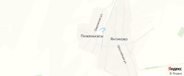 Карта деревни Пиженькас в Чувашии с улицами и номерами домов