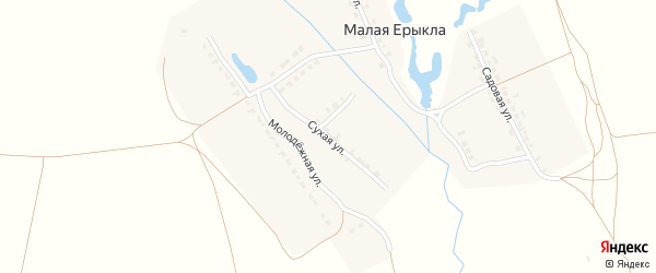 Сухая улица на карте деревни Малой Ерыклы с номерами домов