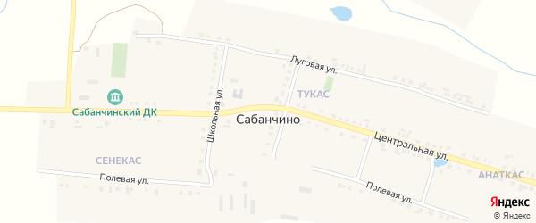 Луговая улица на карте села Сабанчино с номерами домов