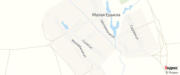 Михайловский переулок на карте деревни Малой Ерыклы с номерами домов