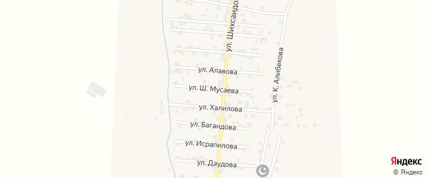Улица Ш.Мусаева на карте села Каякента с номерами домов