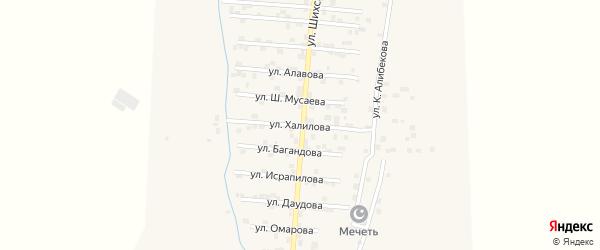 Улица Ш.Халилова на карте села Каякента с номерами домов