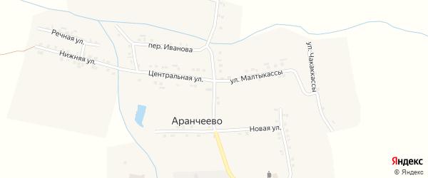 Центральная улица на карте деревни Аранчеево с номерами домов