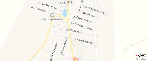Улица Акаева на карте села Каякента с номерами домов