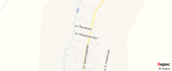 Улица С.Бадырханова на карте села Каякента с номерами домов