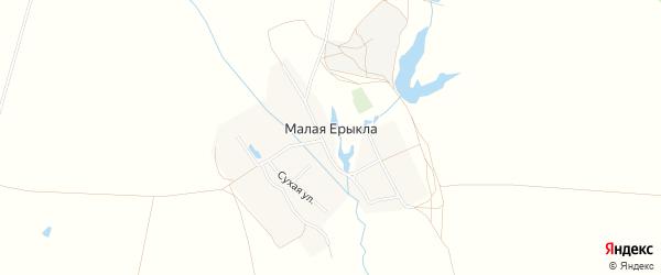 Карта деревни Малой Ерыклы в Чувашии с улицами и номерами домов