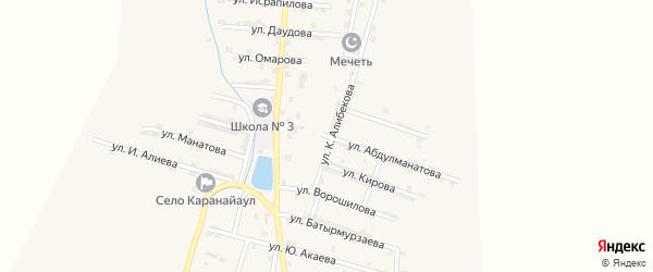 Зеленая улица на карте села Каякента с номерами домов