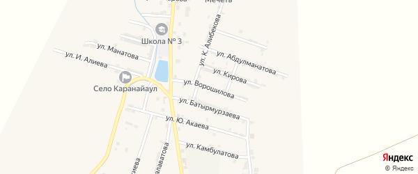 Улица Ворошилова на карте села Каякента с номерами домов
