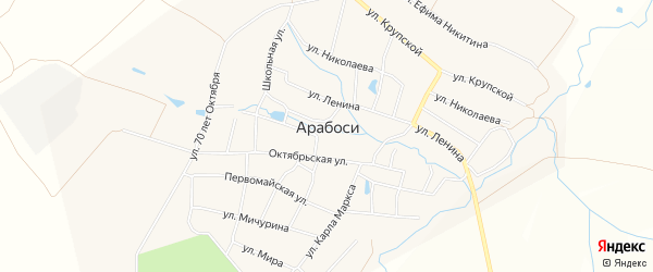Карта деревни Арабосей в Чувашии с улицами и номерами домов
