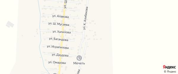 Улица К.Алибекова на карте села Каякента с номерами домов