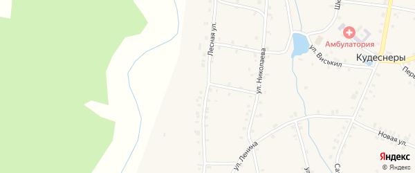 Лесная улица на карте деревни Кудеснер с номерами домов