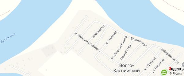 Сельская улица на карте Волго-Каспийского поселка с номерами домов
