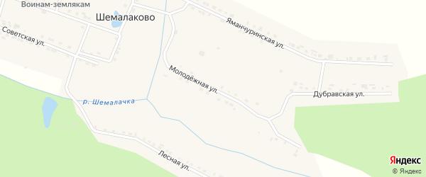 Молодежная улица на карте села Шемалаково с номерами домов