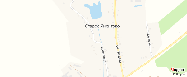 Овражная улица на карте деревни Старого Янситово с номерами домов