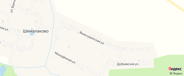 Яманчуринская улица на карте села Шемалаково с номерами домов