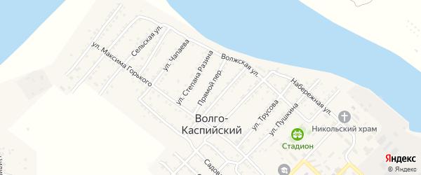 Прямой переулок на карте Волго-Каспийского поселка с номерами домов