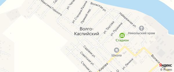 Узенький переулок на карте Волго-Каспийского поселка с номерами домов
