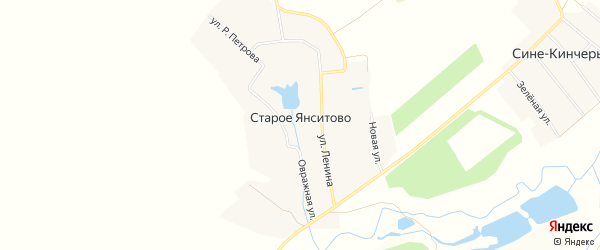 Карта деревни Старого Янситово в Чувашии с улицами и номерами домов