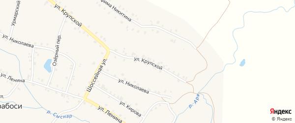 Улица Крупской на карте деревни Арабосей с номерами домов