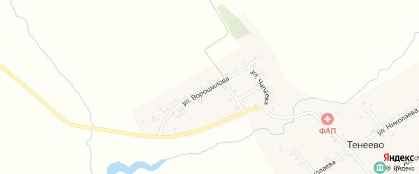 Улица Ворошилова на карте деревни Тенеево с номерами домов
