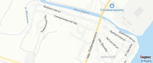 Самаркандский 2-й переулок на карте Астрахани с номерами домов