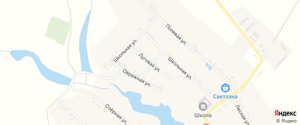Луговая улица на карте села Большей Таяба с номерами домов