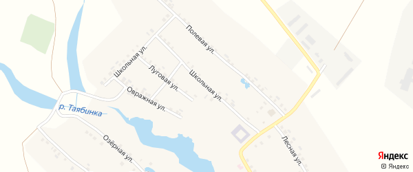Школьная улица на карте села Большей Таяба с номерами домов