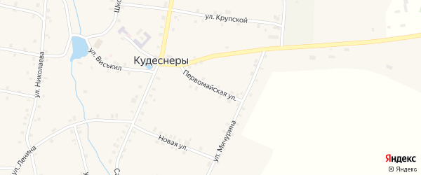 Первомайская улица на карте деревни Кудеснер с номерами домов