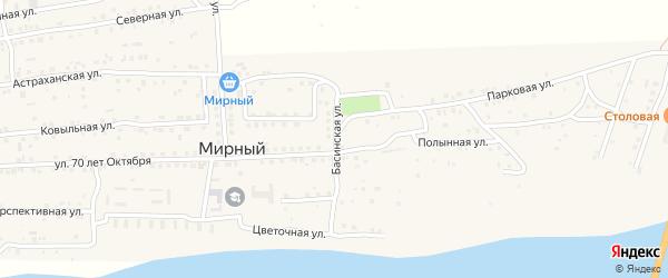 Басинская улица на карте Мирного поселка с номерами домов