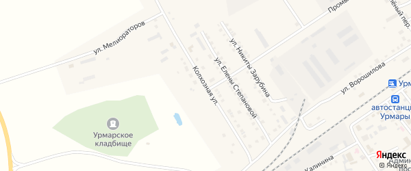 Колхозная улица на карте поселка Урмары с номерами домов