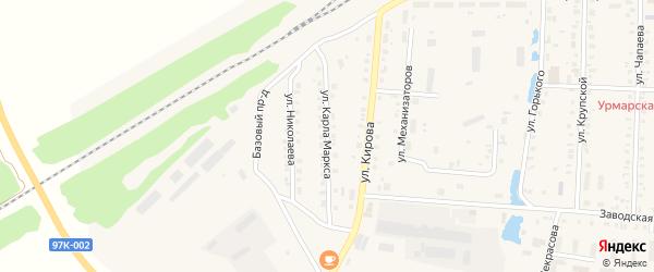 Улица К.Маркса на карте поселка Урмары с номерами домов