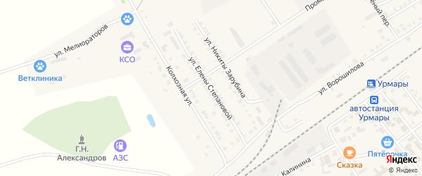 Улица Е.Степановой на карте поселка Урмары с номерами домов