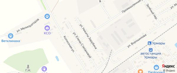 Улица Н.Зарубина на карте поселка Урмары с номерами домов